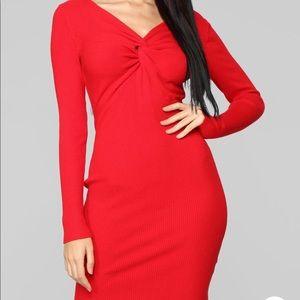 RED FALL RIBBED SWEATER MINI DRESS, SEXY !!